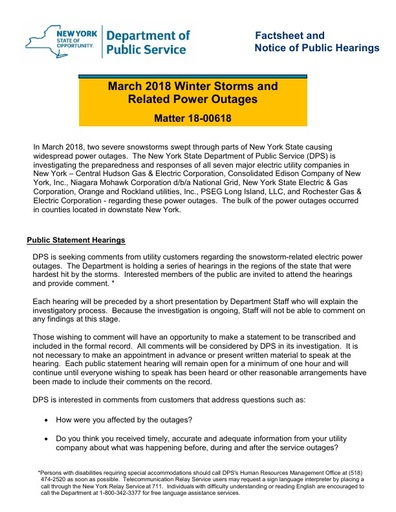 March 2018 Power Outages Fact Sheet