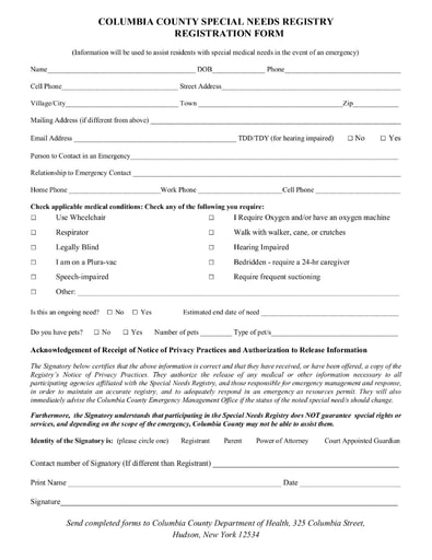 Columbia County Special Needs Registration Form