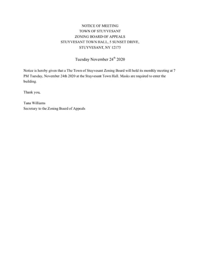 LEGAL NOTICE OF MEETING ZBA 11 24 2020