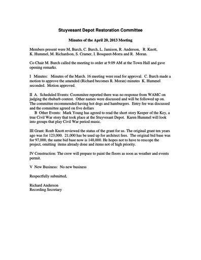 RR Committee Meeting Minutes -- April 2013