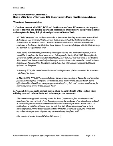Greenway Committee Findings Statement