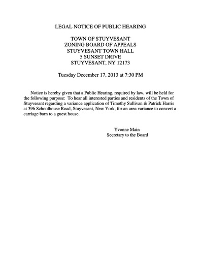 Public Notice ZBA Public Hearing re Harris/Sullivan 12-17-13