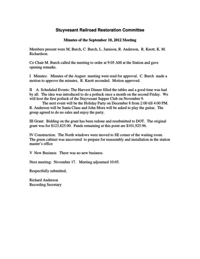RR Committee Meeting Minutes -- September 2013